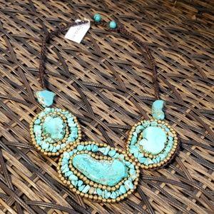New Panacea crocheted beaded bib Necklace